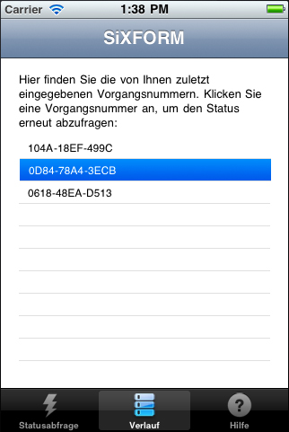 Screenshot 3 der SiXFORM-App unter iPhone (iOS)