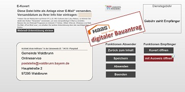 Das E-Kuvert enthät und transportiert die verschlüsselten Daten des digitalen Bauantrags